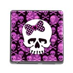 Pink Polka Dot Bow Skull Memory Card Reader with Storage (Square)