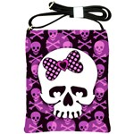 Pink Polka Dot Bow Skull Shoulder Sling Bag