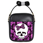 Pink Polka Dot Bow Skull Girls Sling Bag