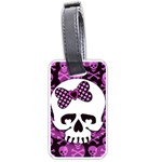 Pink Polka Dot Bow Skull Luggage Tag (two sides)