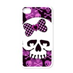 Pink Polka Dot Bow Skull Apple iPhone 4 Case (White)