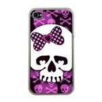Pink Polka Dot Bow Skull Apple iPhone 4 Case (Clear)