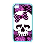 Pink Polka Dot Bow Skull Apple iPhone 4 Case (Color)