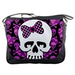 Pink Polka Dot Bow Skull Messenger Bag