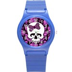 Pink Polka Dot Bow Skull Round Plastic Sport Watch Small