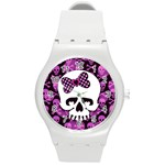 Pink Polka Dot Bow Skull Round Plastic Sport Watch Medium
