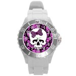 Pink Polka Dot Bow Skull Round Plastic Sport Watch Large