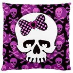 Pink Polka Dot Bow Skull Large Cushion Case (One Side)