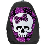 Pink Polka Dot Bow Skull Backpack Bag