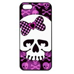 Pink Polka Dot Bow Skull Apple iPhone 5 Seamless Case (Black)