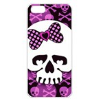 Pink Polka Dot Bow Skull Apple iPhone 5 Seamless Case (White)