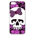 Pink Polka Dot Bow Skull Apple Seamless iPhone 5 Case (Clear)