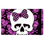Pink Polka Dot Bow Skull Apple iPad 2 Flip Case