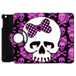 Pink Polka Dot Bow Skull Apple iPad Mini Flip 360 Case
