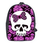 Pink Polka Dot Bow Skull School Bag (XL)