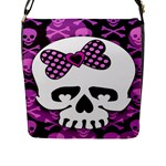 Pink Polka Dot Bow Skull Flap Closure Messenger Bag (Large)