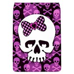 Pink Polka Dot Bow Skull Removable Flap Cover (Large)