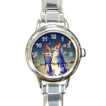 Peaceful And Love Birds Round Italian Charm Watch