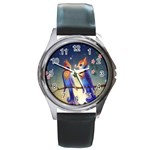 Peaceful And Love Birds Round Metal Watch