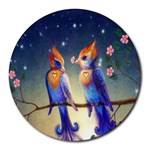 Peaceful And Love Birds Round Mousepad