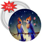 Peaceful And Love Birds 3  Button (10 pack)