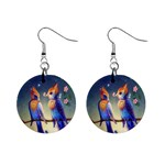 Peaceful And Love Birds 1  Button Earrings