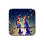 Peaceful And Love Birds Rubber Coaster (Square)