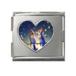 Peaceful And Love Birds Mega Link Heart Italian Charm (18mm)