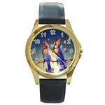Peaceful And Love Birds Round Gold Metal Watch