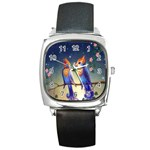 Peaceful And Love Birds Square Metal Watch