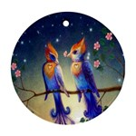 Peaceful And Love Birds Round Ornament (Two Sides)