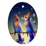 Peaceful And Love Birds Oval Ornament (Two Sides)