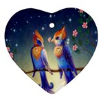 Peaceful And Love Birds Heart Ornament (Two Sides)