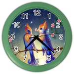 Peaceful And Love Birds Color Wall Clock