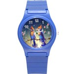 Peaceful And Love Birds Round Plastic Sport Watch Small