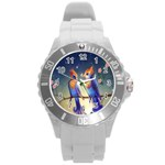 Peaceful And Love Birds Round Plastic Sport Watch Large