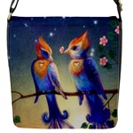 Peaceful And Love Birds Flap closure messenger bag (Small)