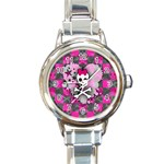 Princess Skull Heart Round Italian Charm Watch