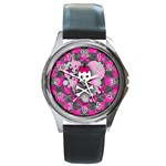 Princess Skull Heart Round Metal Watch
