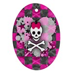 Princess Skull Heart Ornament (Oval)