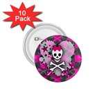 Princess Skull Heart 1.75  Button (10 pack)