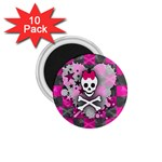 Princess Skull Heart 1.75  Magnet (10 pack)