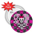 Princess Skull Heart 2.25  Button (10 pack)
