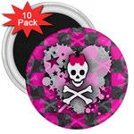 Princess Skull Heart 3  Magnet (10 pack)