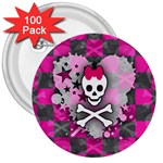 Princess Skull Heart 3  Button (100 pack)