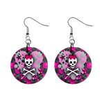 Princess Skull Heart 1  Button Earrings