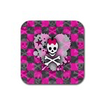Princess Skull Heart Rubber Square Coaster (4 pack)