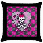 Princess Skull Heart Throw Pillow Case (Black)