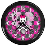 Princess Skull Heart Wall Clock (Black)
