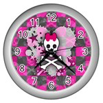 Princess Skull Heart Wall Clock (Silver)